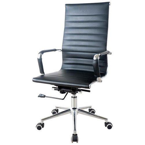 Καρέκλα διευθυντική τροχήλατη μαύρη με μεταλλική βάση