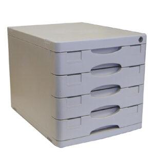 Next Συρταριέρα Με 4 Συρτάρια & Κλειδαριά Γκρι Α4 Υ31.5×39.5×29.5εκ