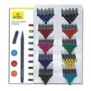 Adel Στάντ Μαρκαδόρων fineliner 0.4mm Διάφορα Χρώματα 180τεμ.